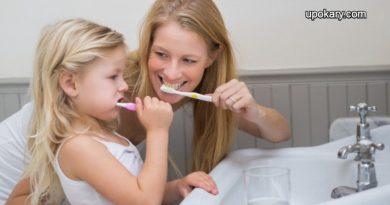 brushing their teeth