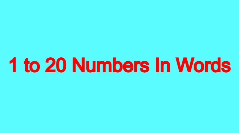 1-to-20-Numbers-In-Words